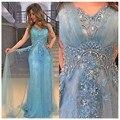 Vestido De Festa 2017 Céu Azul Longos Vestidos de Noite Frisado cristal Apliques de Tule vestido de Festa Formal do baile de Finalistas Vestido de Noite Robe De sarau