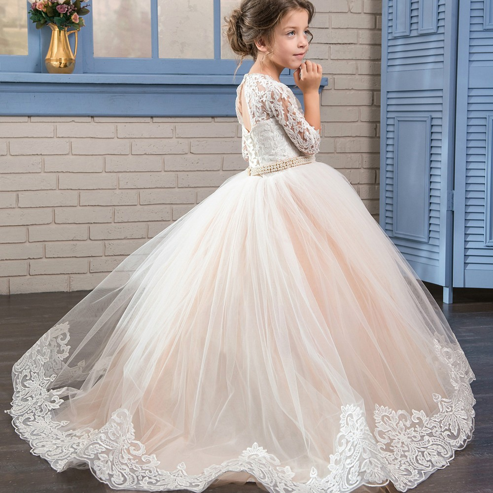 Lovely Long Sleeve   Flower     Girl     Dresses   for Weddings Lace Little   Girls   First Communion Pageant Gowns