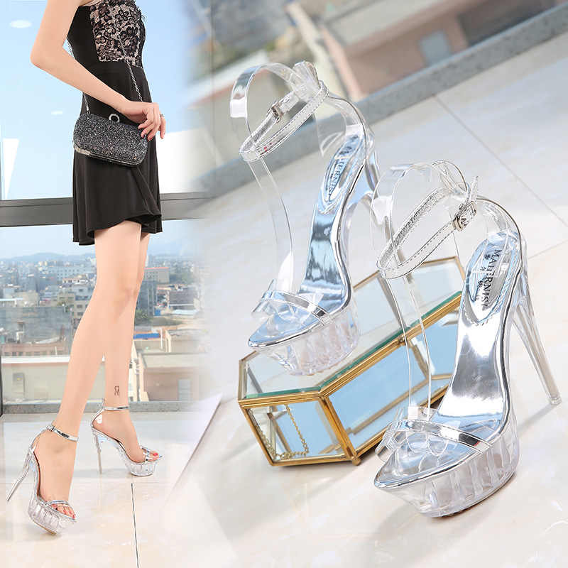 a3eec3934b ... PVC Jelly Shoes Sandals For Women 2019 High Heels Transparnet Summer  Sandals Clear Heels Ladies Gladiator