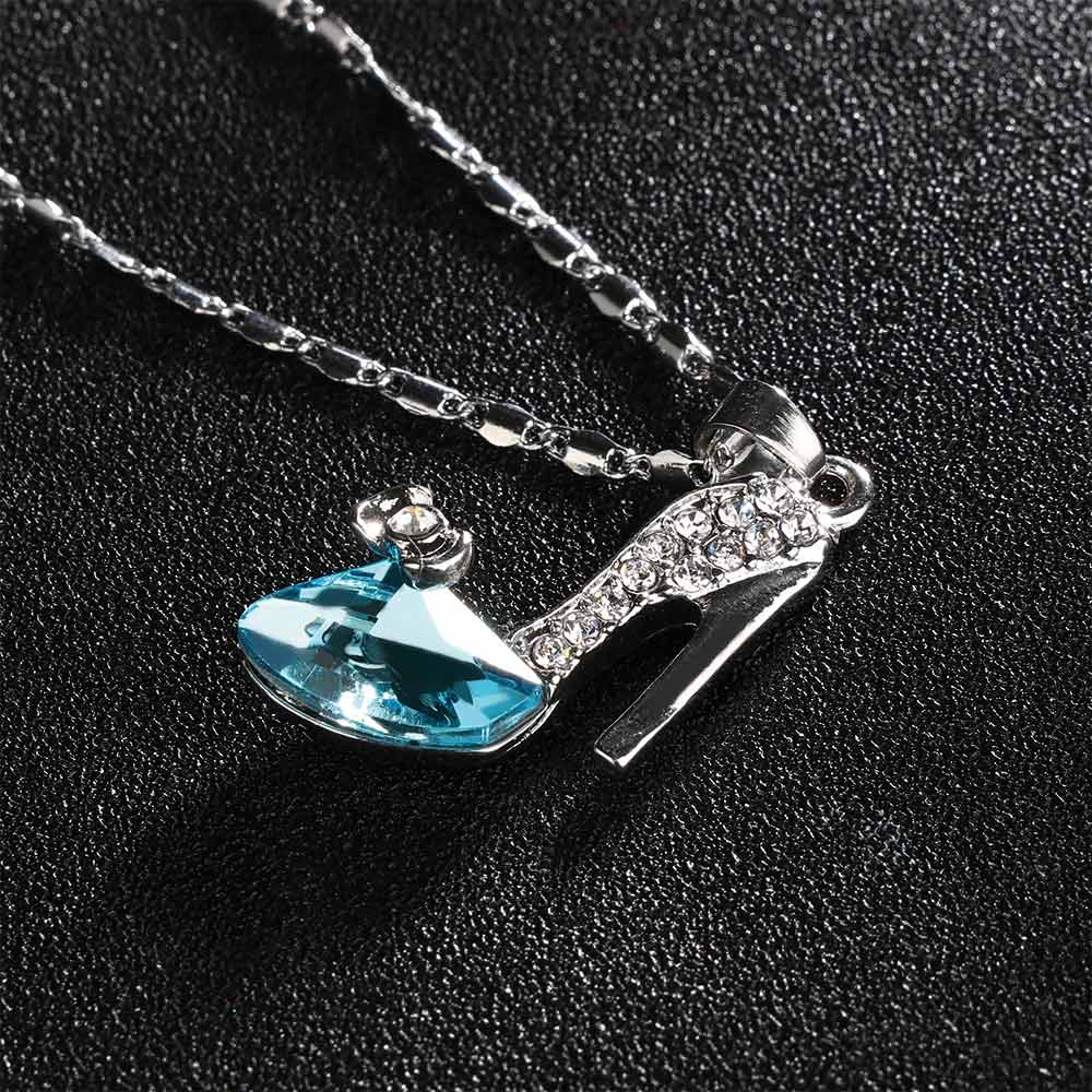 1 шт., длинное ожерелье Золушки с кулоном на высоком каблуке, стразы разных цветов, романтичные украшения, аксессуары