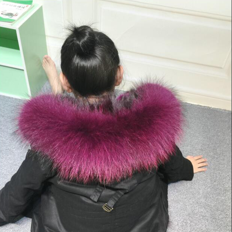 Children Hooded Coat Cap Fur Collar Winter Real Raccon Fur Collar for Kids Jacket Cap Can Remove Fur Hat Collar C#01 free shipping mink fur kintted cap fur cap fur hat wholesale