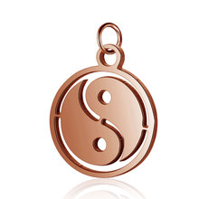 5pcs 316L Stainless Steel Gold Rose Silver Tone High Polished Tai Chi Yin Yang Charm Pendant DIY Jewelry Findings Crafts