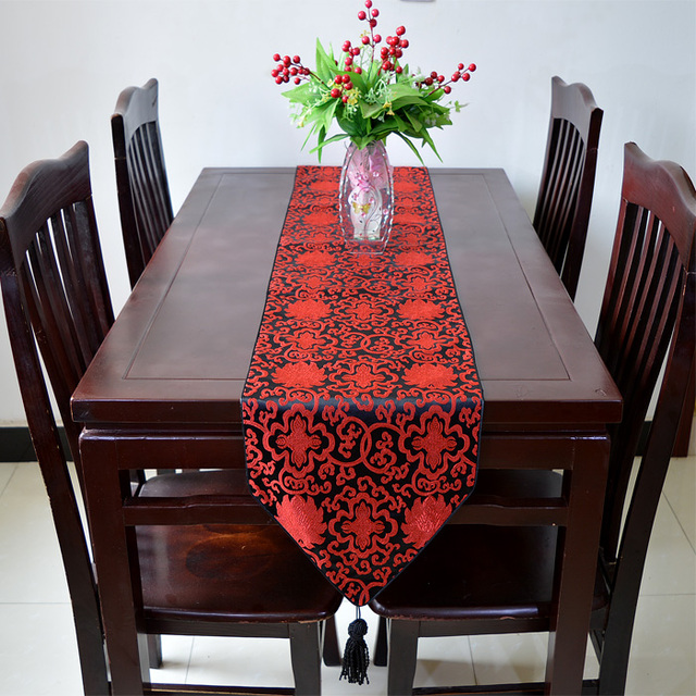 Extra Long Silk Brocade Table Runner Chinese Style Dining Table Cloth  Fashion Simple Coffee Table Protective