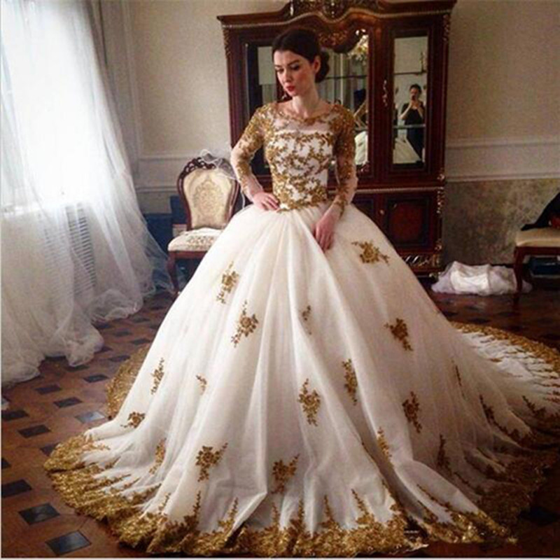 Vestido De Noiva white and gold Ball Gown Wedding Dresses Long Sleeve Arabic gold Lace Appliques