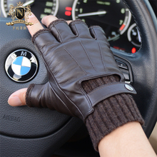 2019 Fashionable Man Half Finger Sheepskin Gloves Autumn Winter Fingerless Knitted Cuff Warm Real Leather Driving Gloves M-56