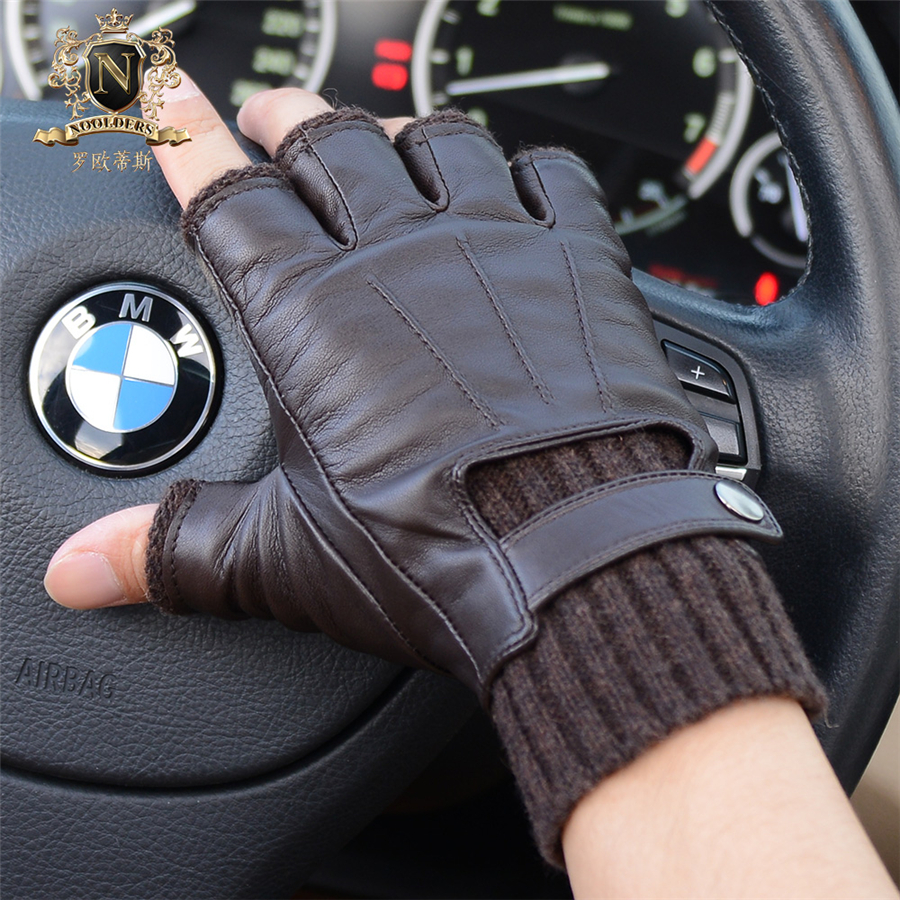 2020 Fashionable Man Half Finger Sheepskin Gloves Autumn Winter Fingerless Knitted Cuff Warm Real Leather Driving Gloves M-56
