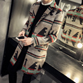Мужская куртка шерстяная мода 2016 новый зима мужчины шерсть гороха пальто однобортный повседневная длинные мужские пальто плюс размер пальто ветровка