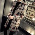 Homens jaqueta de lã de moda 2016 novos homens de inverno de lã de ervilha brasão único breasted casual mens longo casaco plus size casaco blusão
