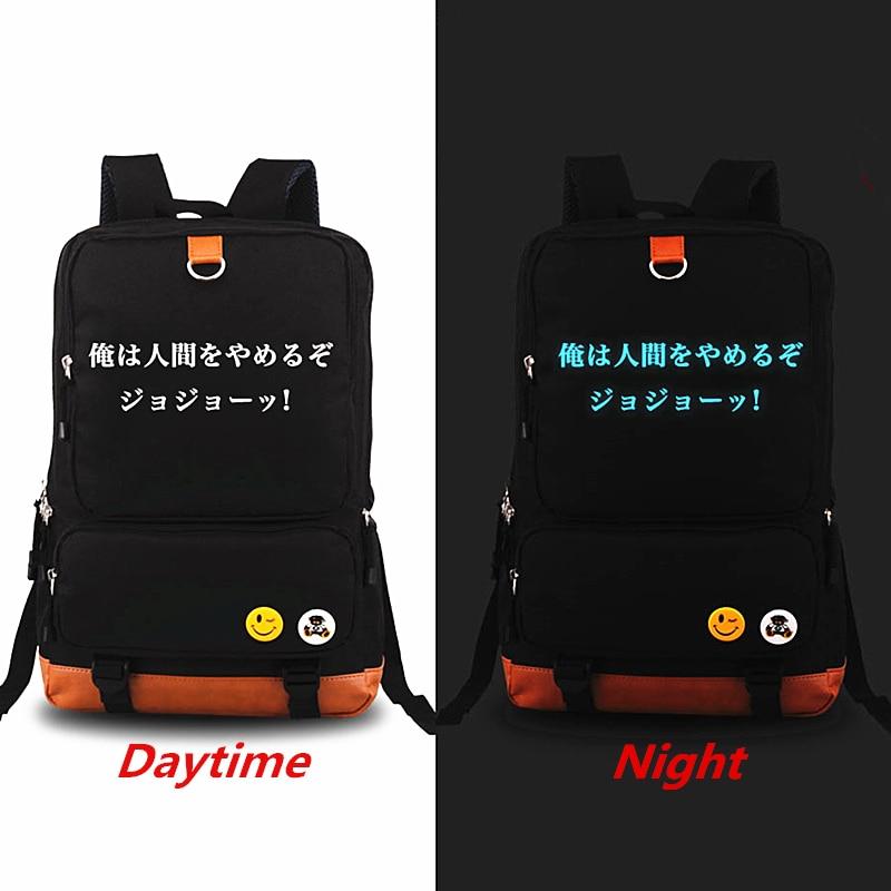 New JoJo Bizarre Adventure Luminous Printing Backpack Rucksack Mochila Student School Bags Shoulder Bag Teenagers Laptop Bags diabolik lovers anime backpack comic shoulder luminous bag new wtag