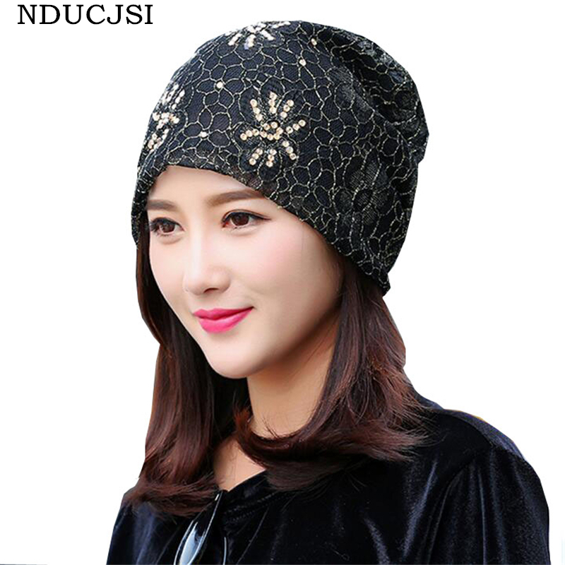 NDUCJSI Female Casual Cotton Knitted Hat Caps Prints Lace Beanie Skull Women Hip-Hop Beanies Adult 2017 Summer Autumn Warm Hat nducjsi autumn scarf knitting wool cap 2017 unisex new hip hop male and female hat summer korean tide casual piles men women hat