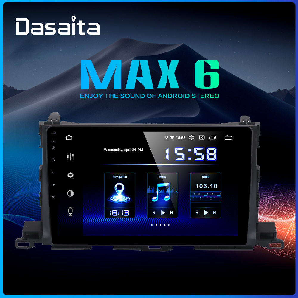 Dasaita 10.2 Car Multimedia 1 Din Android 9.0 for Toyota Highlander GPS 2015 Car Stereo Bluetooth MAX6 64GB ROM