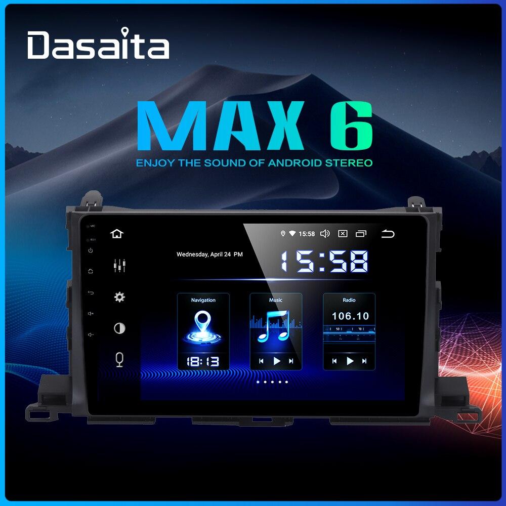 Dasaita 10.2 voiture multimédia 1 Din Android 9.0 pour Toyota Highlander GPS 2015 voiture stéréo Bluetooth MAX6 64GB ROM