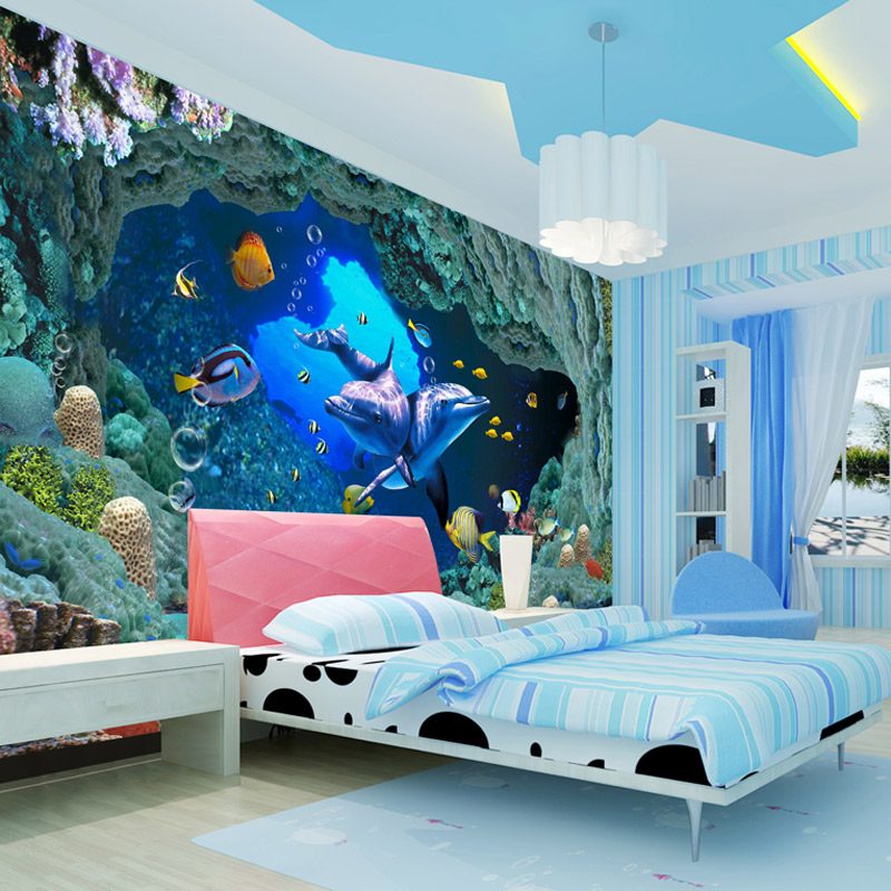 Beautiful Aliexpress.com : Buy 3D Underwater World Wall Mural Cartoon Dolphin Photo  Wallpaper For Kids Custom Children Room TV Sofa Backdrop Wall Murals Paper  From ...