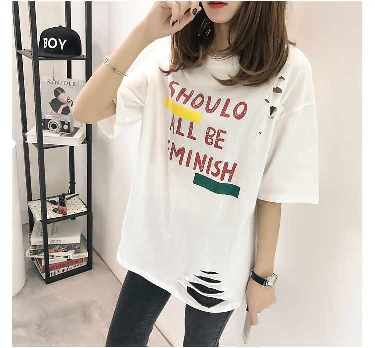 XL- 4XL 2019 new plus size summer loose High Street hole Letter print short sleeve O-Neck women T-shirt top tee TY5 15