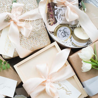 Cocostyles bespoke blank elegant wooden box with ribbon and tag for party event wedding gift box