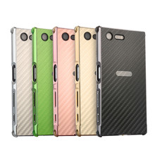 цена на For Sony XZ Premium Anti-knock Case Metal Frame with Carbon Fiber Back Cover Hard Cases for Sony Xperia XZ Premium G8141 G8142