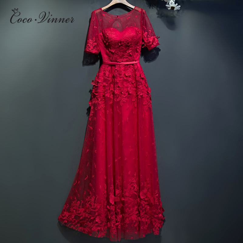 C.V 2017 Women Long Evening Dress Red Color Short-sleeve Dinner Evening Dresses Lace Embroidery Slim Sexy Formal Dresses New
