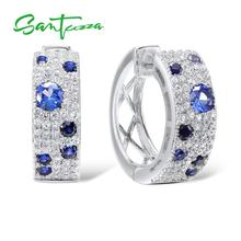 SANTUZZA Silver Earrings For Women 925 Sterling Silver Cubic Zirconia brincos Fine Jewelry
