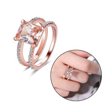 1PC Rose Gold Color Rings Set Morganite Anniversary Proposal Gift Clear Jewelry Birthday Party Engagement Wedding Band Rings(China)