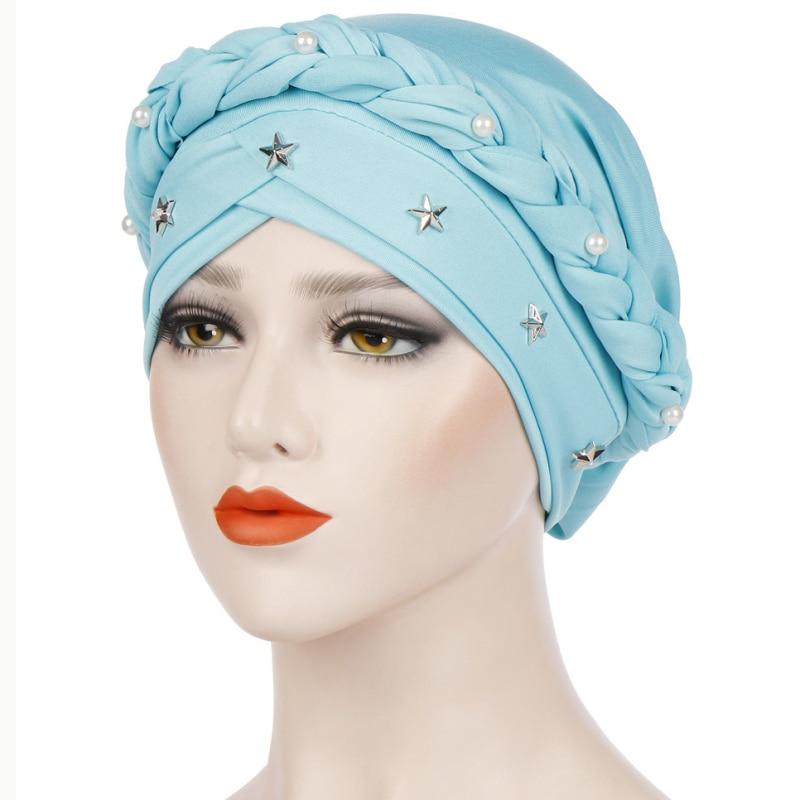 HT2325 Women Turban Wrap Cap Hats Beading India Hat Muslim Ruffle Cancer Chemo   Beanie   Hat Woman Braided Scarf   Skullies     Beanies