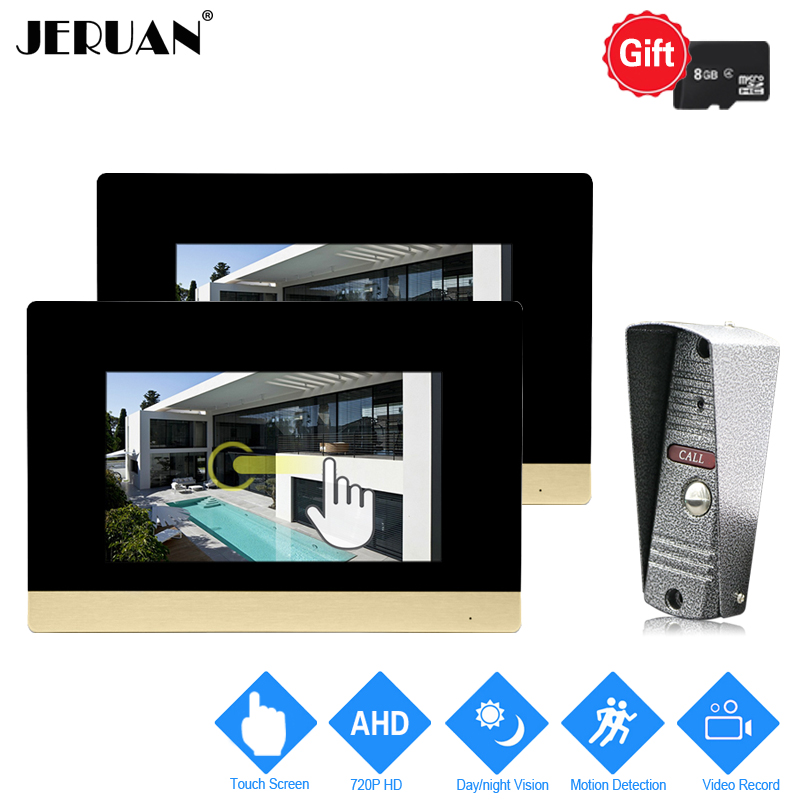 JERUAN 720P AHD Motion Detection 7`` Touch Screen Video Door Phone Doorbell Intercom System 2 Record Monitor + HD IR Mini Camera jeruan 720p ahd motion detection 7 touch screen video door phone doorbell intercom system 2 record monitor hd ir mini camera