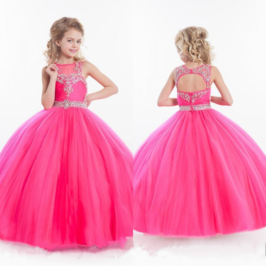 2017 Sweet Pageant Dresses for Little Girls Pink Kids Ball Gown Floor Length Glitz Flower Girl Dress First Communion Gown Custom fancy pink little girls dress long flower girl dress kids ball gown with sash first communion dresses for girls