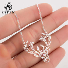 Oly2u Stainless Steel Choker Necklace For Women Necklaces Anianl Deer Pendant Necklace Long Chain Mom collar femme(China)