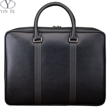 YINTE Fashion Men's Handbag Genuine Leather Laptop Bags Business Leisure Men Totes Blue Color Messenger Bags Portfolio T8287-1