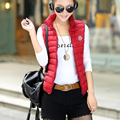 Woman spring plus size Solid Turn-down Collar zipper down waistcoat female fall sleeveless warm down jackets lady down vest