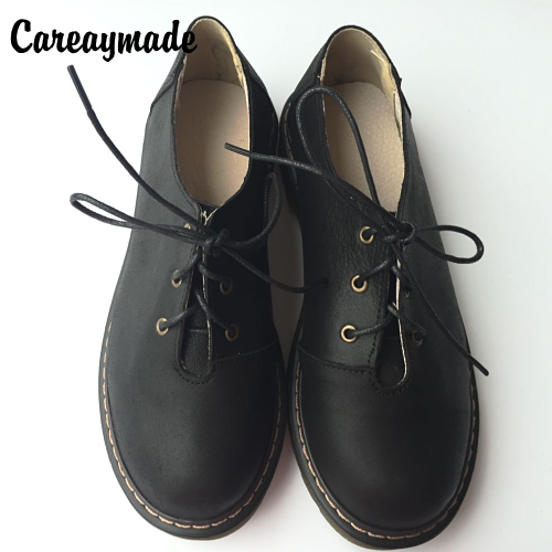 Careaymade-Brogue shoes, head of student winter 2017 Vintage flat strappy Genuine leather art institute wind female shoes art of war