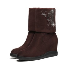 2018 Women Wedge High Heels Boots Platform Mid Calf Ladies Genuine Leather Shoes Autumn Winter Fashion New YG-B0032