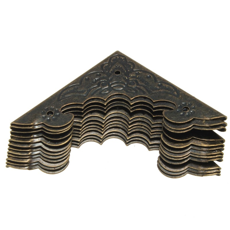 12pcs Bronze Decorative Antique Brass Jewelry Wine Gift Box Wooden Corner Protector Guard 55x40mm In Stock