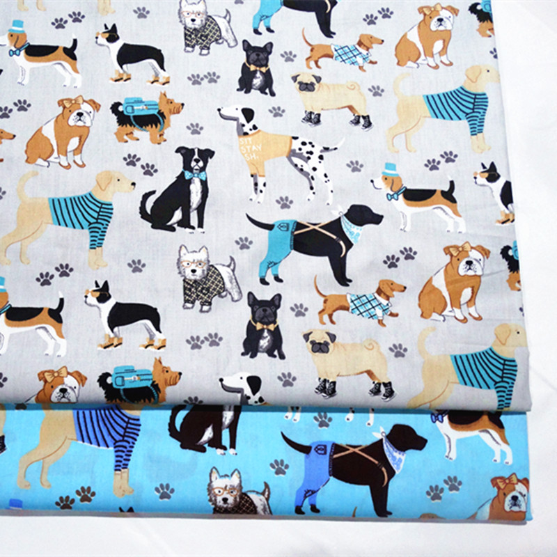 Fabric breathable cotton twill in hand sewing cotton twill fabric for baby bedding home textile printed dogs