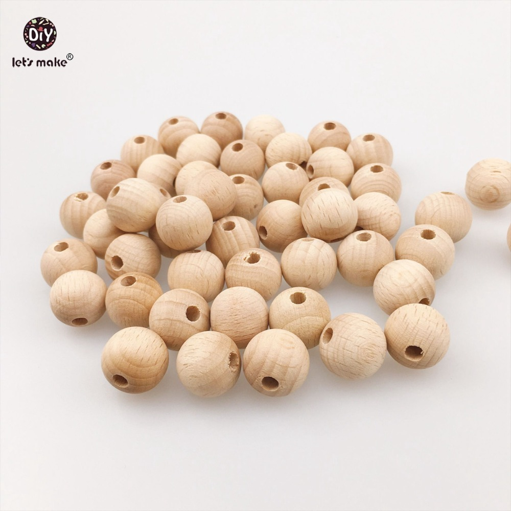 Lets Make 50PC 20mm Wooden Teether Unfinished Beech Beads DIY Jewelry Safe For New Mommy Chewable Round Beads Baby Teether ...