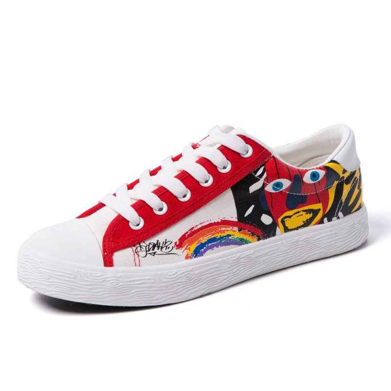 Hot Sale Mens Spring Summer Shoes Man Casual Print Canvas Shoes Men 2018 Lace Up Graffiti Flats Zapatillas Hombre Casual Shoes in Men 39 s Casual Shoes from Shoes