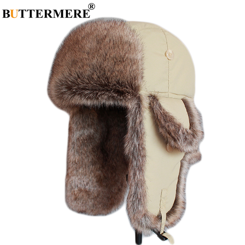 BUTTERMERE Beige Pilot Hats Women Winter Solid Bomber Hat Men Windproof Thicker Fur Caps Russian Ushanka Ear Flaps Outdoor Hat