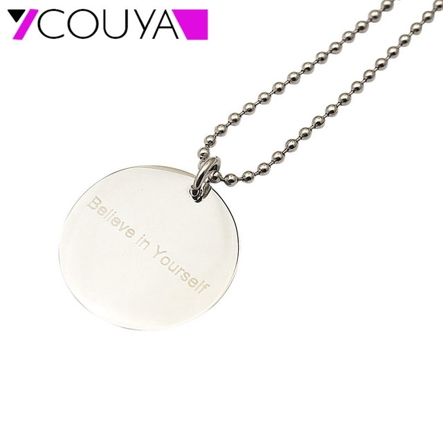 Hot Fashion Necklace for Women Stainless Steel Round Pendant BELIEVE IN  YOURSELF Necklace Silver Necklaces   Pendants Jewelry d5e5e7514