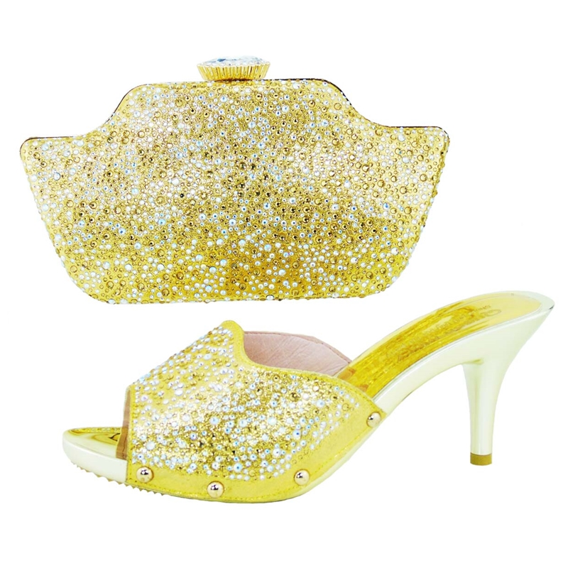ФОТО HS001 Gold! Hot sale Italian ladies shoes and matching bag with rhinestone,Top quality African style shoes and bag.