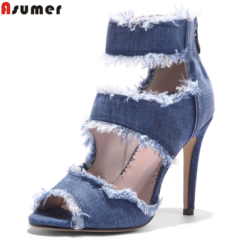 ASUMER Large size 34-43 New fashion summer shoes peep toe denim high heels gladiator women sandals sexy lady date shoes woman 2017 new summer fashion women casual shoes genuine leather lady leisure sandals gladiator all match ankle peep toe flowers