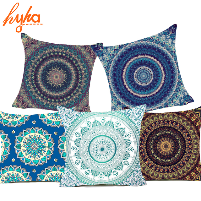 Hyha Hippie Mandala Polyester Cushion Cover Bohemian Indian Style New Indian Style Decorative Pillows