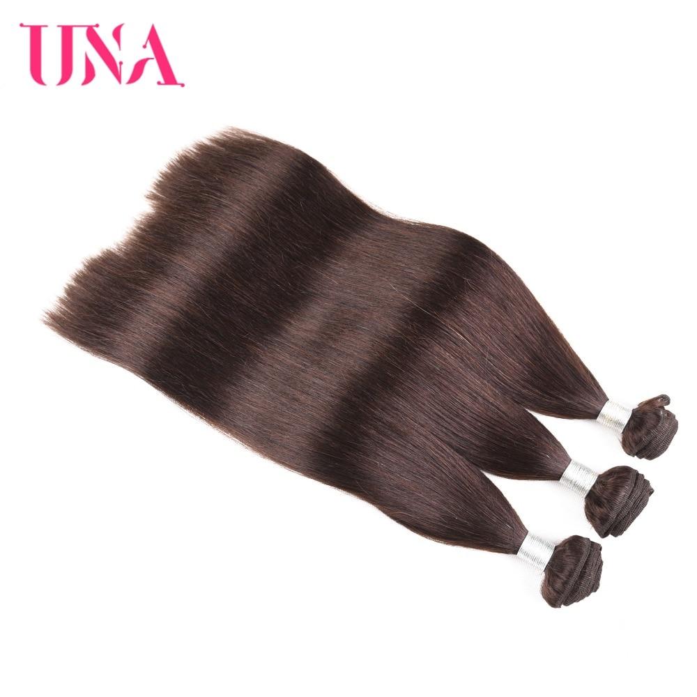 UNA Brazilian Hair Weaves 1 Piece # 2 Brasilian Straight Non-Remy - Mänskligt hår (svart) - Foto 3