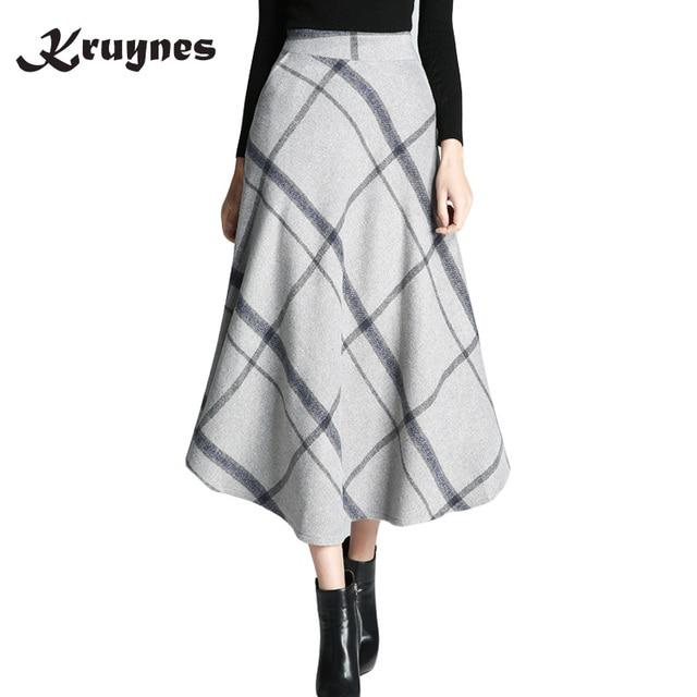 447fe70b8c66e Women Woolen Skirts Autumn Winter Skirts 2018 Elegant Plaid Skirt Fashion  Ankle-length Saias Classical Wool Mulheres Saia Faldas