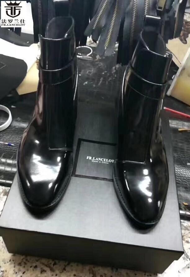 FR. LANCELOT Novo 2018 cor preta botas homens botas de couro botas de couro botas botas de tornozelo moda fivela de cobra baixo botas de homens