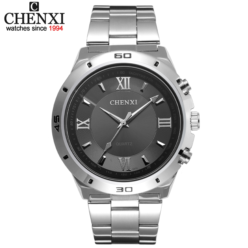 Hot Sale Stylish Three kinds of colors to choose from CHENXI CX-027C Men Watch Stainless Steel Quartz Analog WristWatch Watches l 10 women s stylish petals style bracelet quartz analog wristwatch golden white 1 x lr626