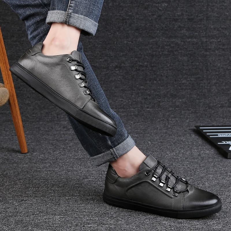 d13978a28 46 Dos 36 Sapato Sapatos Genuína Black Moda Casuais Preto Os amp; Homens  Homem Cinza 2019 ...