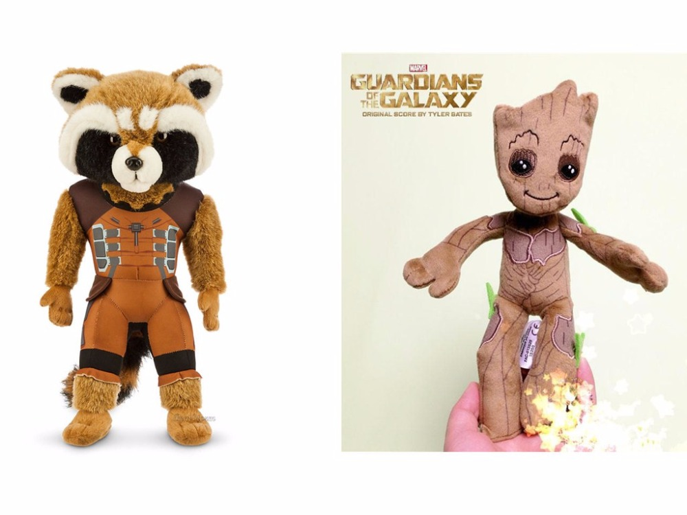 "Groot and Rocket Raccoon 8/"" Plush Guardians of the Galaxy"
