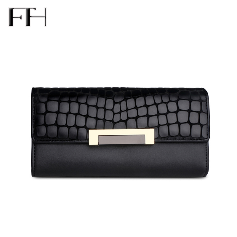 Classic Black Luxury Snakeskin Texture Cow Leather phone Wallet for women Lady Elegant Clu