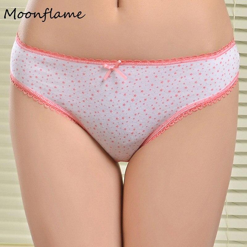 Moonflame Briefs Women New Arrival 2018 Female Underwear Floral Print Cotton Women   Panties   86835