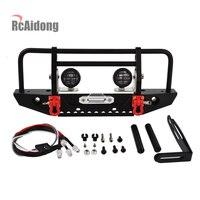 1/10 Rc Car Metal Front Bumper & LED Light for 1/10 RC Crawler Car Axial SCX10 90046 D90 Traxxas TRX 4 TRX4