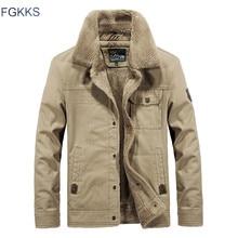 FGKKS Winter Men Jacket Men's Fashion Fleece Fur Collar Jackets